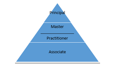Certification progression, from Associate to Practitioner to Master to Principal
